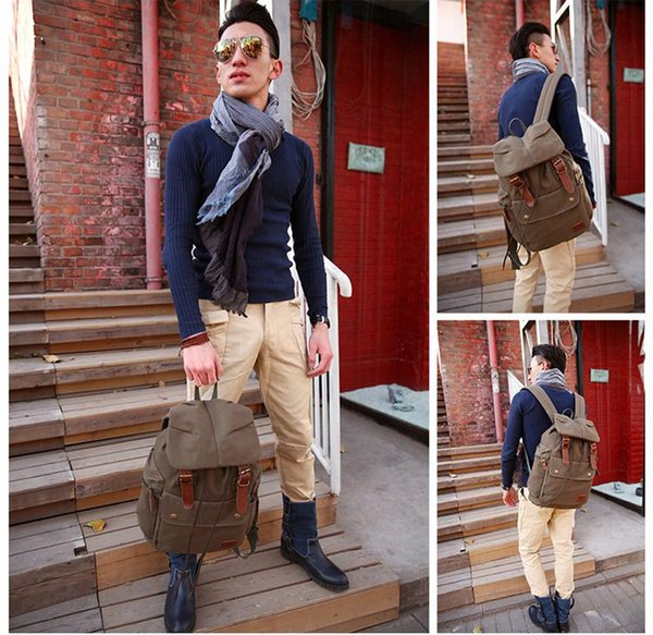 2019 Backpack Straw String Travel Bag Washed Canvas Bag With Leather Rucksack Popular Backpack Fab Women Bag