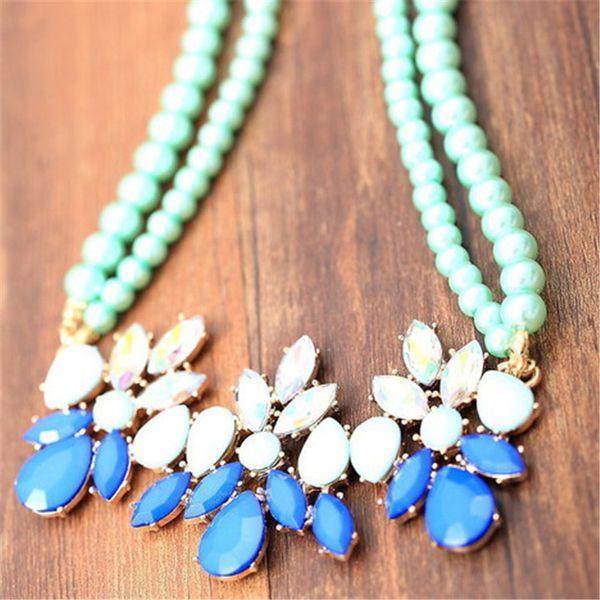 pequeña menta fresca verde azul verde gema diamante perla flor caramelo cadena corta collar clavícula
