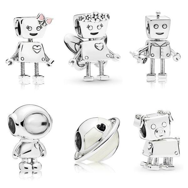 925 Sterling Silber Roboter Charms Schöne Astronaut Charm Fit Ursprüngliche Pandora Charms Armband DIY Silber 925 Europäischen Schmuck
