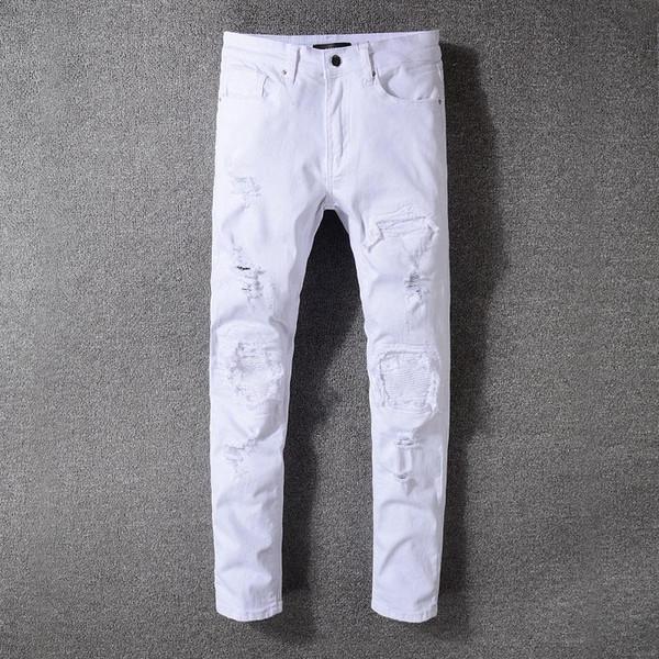 Мужские дизайнерские Брюки Проблемные рваные джинсы Известный моды Прохладный Мужские дизайнерские джинсы мотоцикла Biker Причинные джинсовые мужские джинсы