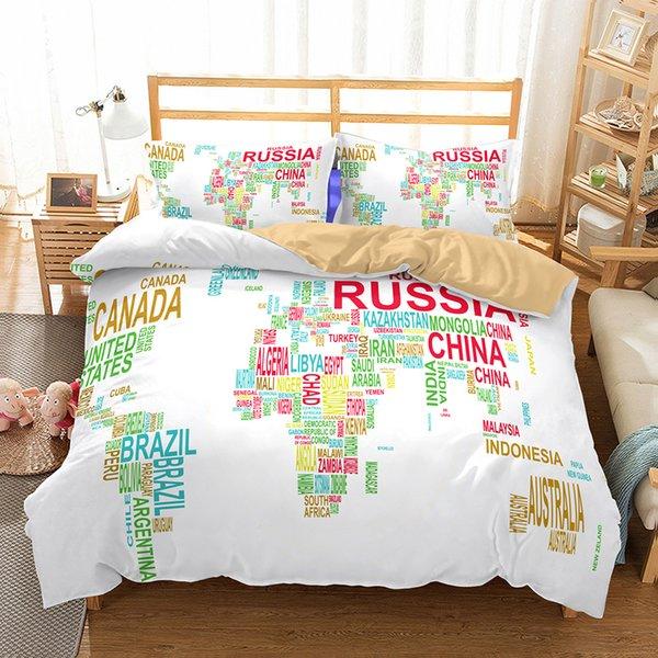 US AU Luxury Bedding Set Duvet World Map Printed Bed Cover Set King Sizes  Back To School Duvet Cover Set Bedding Supplies Comforter Sets For Cheap ...