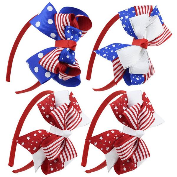 I capelli della neonata di modo attacca gli accessori dei capelli di giorno di indipendenza delle fasce dei capelli della banda cinque stelle della banda del 4 luglio