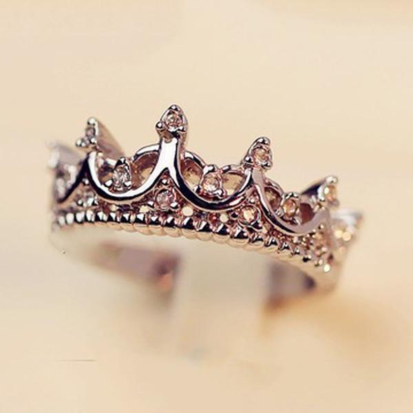 2018 Fashion Queen's Silver Crown Anneaux Pour Les Femmes Punk Marque Cristal Bijoux Amour Anneaux Femme Bijoux De Mariage Fiançailles