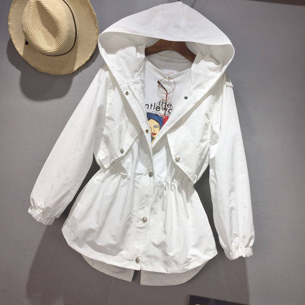 Frühling Trenchcoat Für Frauen Mode Lässig Kordelzug Taille Mantel Frauen Lose Mit Kapuze Windjacke Weiß Schwarz Trenchcoats C5325