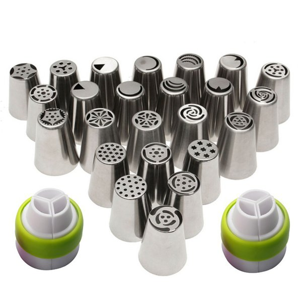 24Pcs/Set 304 Stainless Steel Russian Cake Nozzle Cake Icing Nozzles Piping Nozzles Cake Decorating Tools