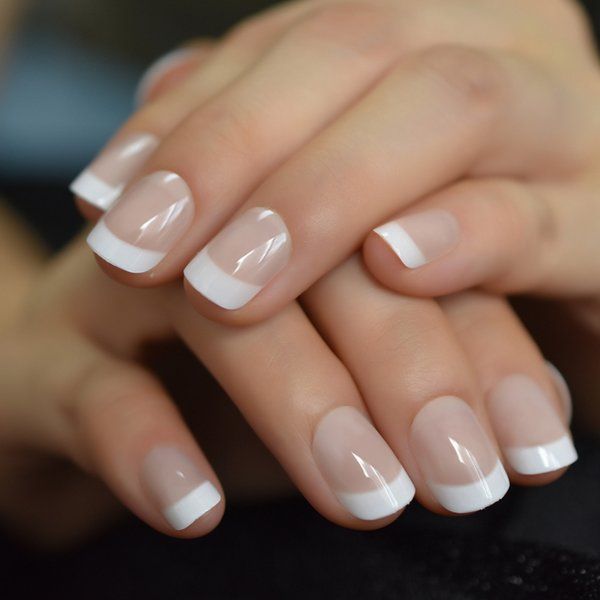 2019 Summer Short Natural Nude White French Nail Tips False Fake Nails UV Gel Press on Ultra Easy Wear for Home Office Wear
