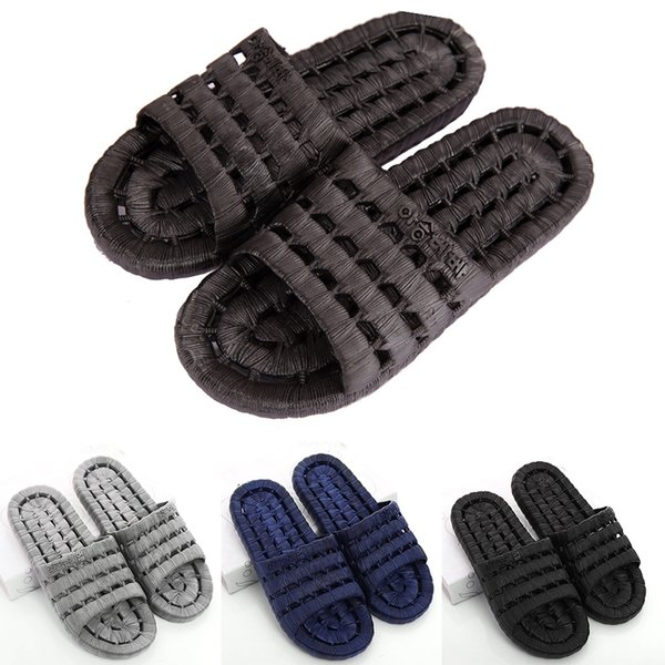 Men PVC Home Flat Shower Slippers Summer Sandals Non-slip Indoor Shoes Beach Shoes in 3 Colors