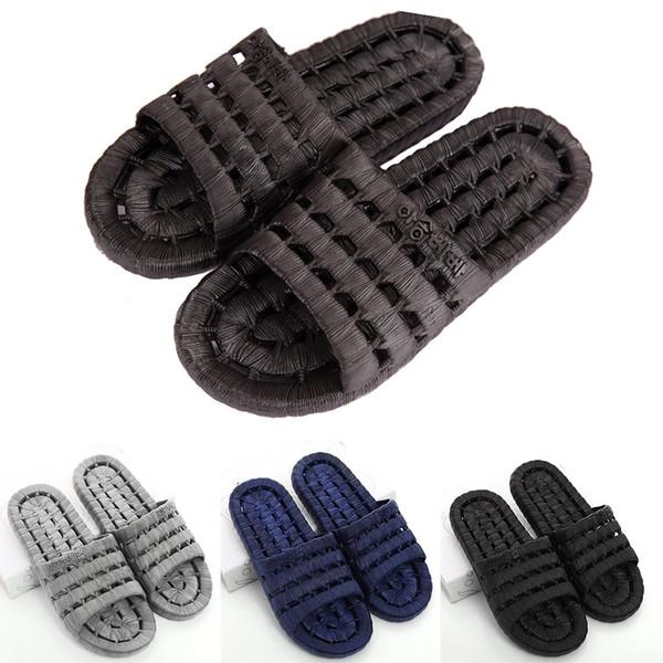 Hommes PVC Maison plat Douche Chaussons Sandales d'été Chaussures antidérapants Chaussures Indoor Plage en 3 couleurs