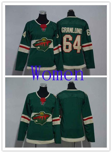 Горячие продажи женщин Миннесота Дикий 64 Микаэль Гранлунд зеленый Главная хоккей Джерси пустой женщина сшитые НХЛ трикотажные изделия