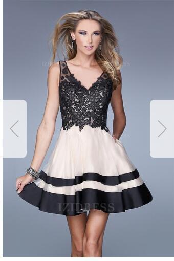 A-Line/Princess V-neck Short/Mini Tulle Prom Dress e27