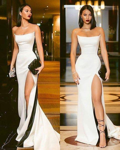 Chic Blanc bretelles Femme Occasion robe de bal formelle de Split Robes de soirée sirène gaine 2019 Sexy Backless Party Robes Robes LLF2100
