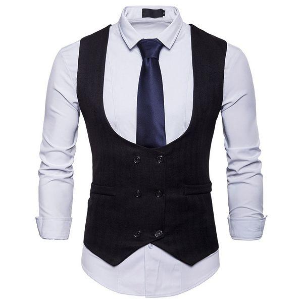 Mens Black Double Breasted Suit Vest 2019 Brand New Slim Fit Waistcoat Vest Men Business Casual Wedding Gilet Costume Homme XXL