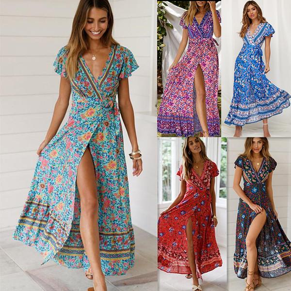 c43c338075001 Son tasarım kadın Elbise Seksi V Yaka Bel Plaj Etek Çiçek Baskılı Uzun Etek  Kısa Kollu