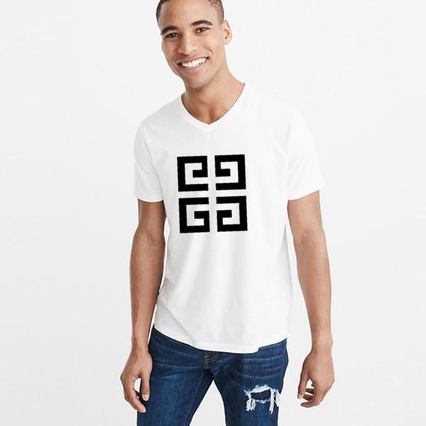 2019 Herren Kurzarm T-Shirt V Kragen schlanke Jacke Sommer lose Baumwolle in weißen T-Shirt Herren Halbarm Mode