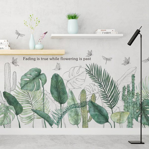 Tropical Plants Green Leaves Wall Stickers Living room Bedroom Bathroom Kids room Vinyl Wall Decals Art Murals Home Decor