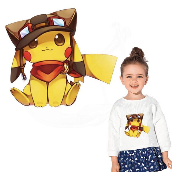 Sıcak pikachu giysi DIY çocuk T-shirt giyim için yamalar hoodie Termal transfer sticker