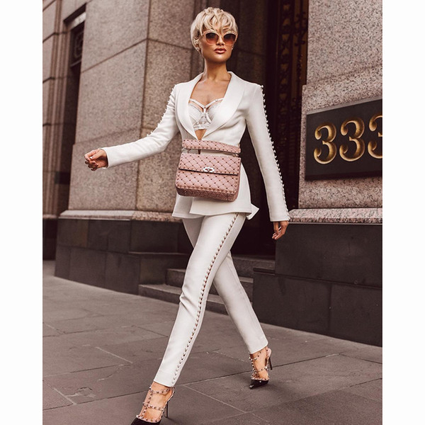 2019 White long sleeved 2 piece jumpsuit Sexy evening Party Bodycon wholesale womens clothing autumn spring Winter summer