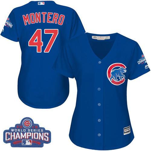 Women's High Quality #47 Miguel Montero Royal Blue Alternate 2016 World Series Champions Sport Jersey