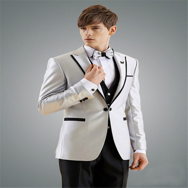 2019 Man Suit New Design Groom Tuxedos Black Edge Groomsman Suit for Man Clothes Custom Made Wedding Suit(Jacket +pants+vest)