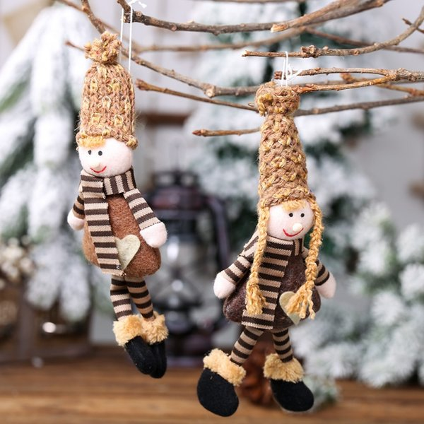 Lovely Christmas Knitted Dolls Christmas Tree Hanging Pendant Decorations for Home Wooden Xmas Tree Ornaments Xmas Gift for Kids