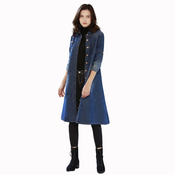 Idopy Womens Girls Casual Vintage Washed Trench Long Length Long Sleeve Jeans Coat Outerwear Denim Vest Jacket Plus Size Blue