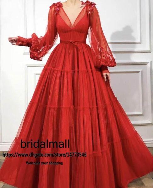 Arabisch 2020 Dunkelrot Tulle Lange Abendkleider Bloße lange Hülsen-elegante formale Abendkleider Appliques Sequined Partei-Festzug banquest Kleid