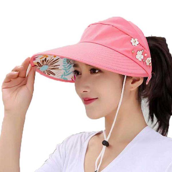 Empty Top Sun Hats Women Summer 2019 Double Uv Protection Beach Visor Cap Female Wide Brim Lady Casual Folding Cap Ponytail