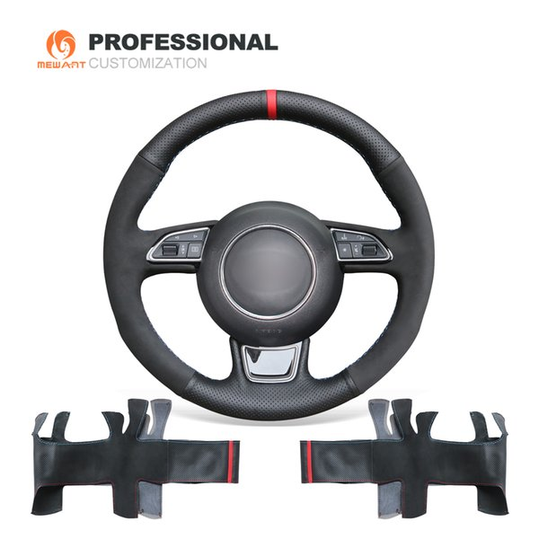 MEWANT Hand-stitched Black Suede with Genuine Leather Steering Wheel Cover Wrap for Audi A1 A3 A5 A7