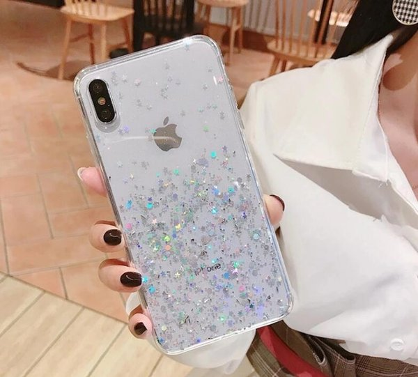 Simple Epoxy Glitter Apple XS MAX Mobile Shell for iphone 11 PRO max Transparent designer iphone case
