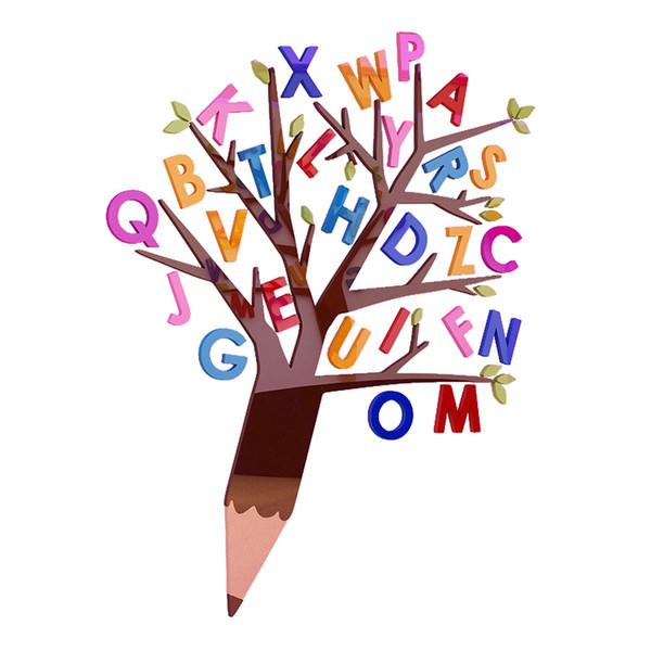 Cartoon English letter tree Acrylic wall sticker For kids room Classroom culture wall stickers DIY decoration of kindergarten