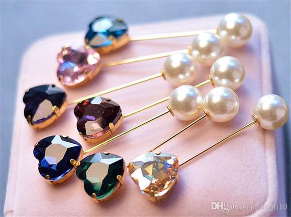 cristallo gemma di modo anti-perdita perle doppio testa cardigan collare pin sciarpa pin pulsante piolino