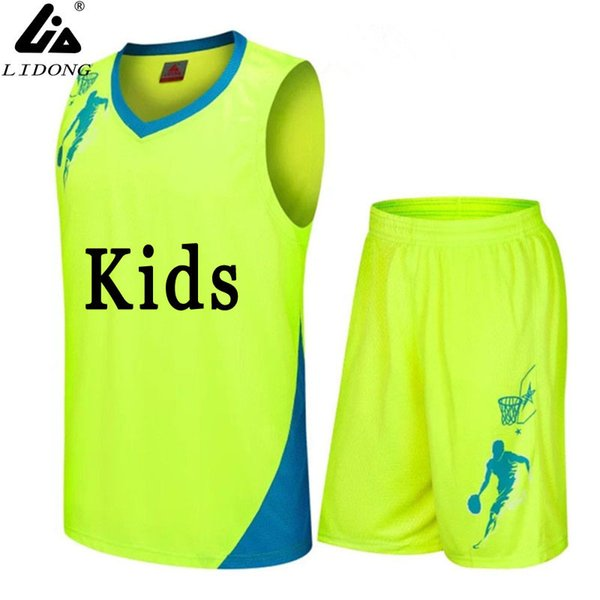 Boys/kids Basketball Jerseys Sets Uniforms Kits Custom Child Sports Clothes Breathable Youth Sports Running Jersey Shirts Shorts Q190521