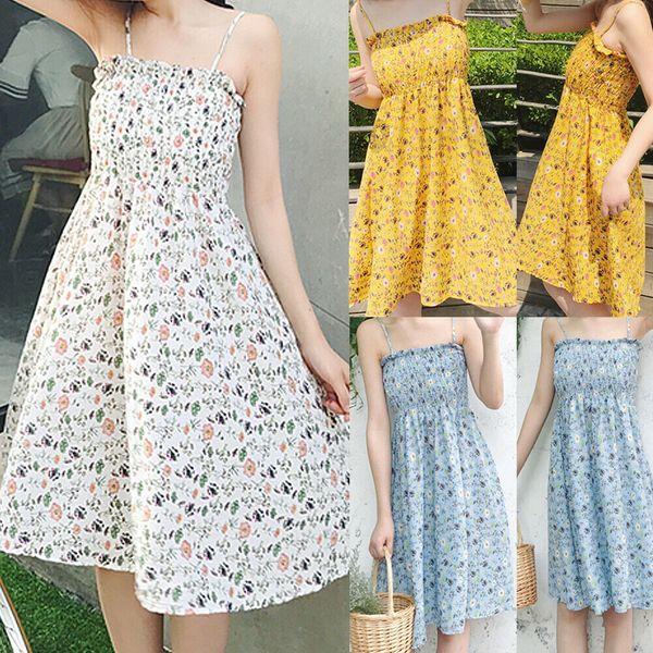 Women Summer Boho Beach Sleeveless Knee-Length Dress Ladies Evening Party Floral Dresses Sundress