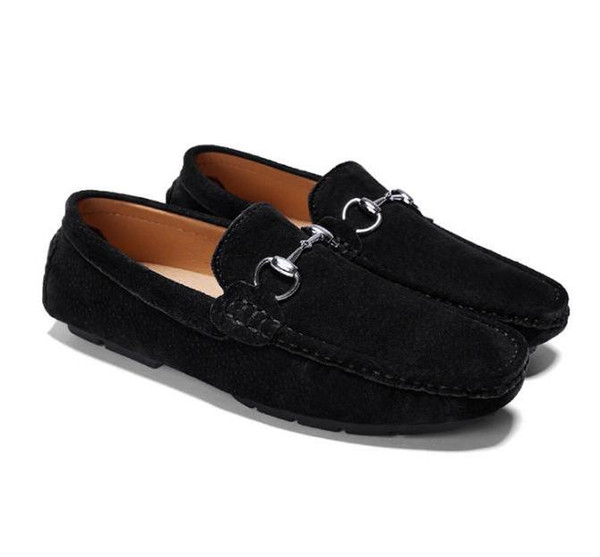New Musk deer leather shoes,men's leather casual shoes,fashion trend soft bottom casual shoes,mens moccasins,Big yards+ LOGO G2.65