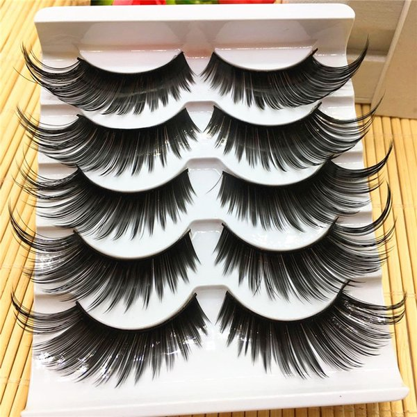 5 Pairs Women Sexy Black Thick False Eyelashes Very Exaggerated Long Fake Eye Lashes Daily & Party Makeup Extension Tools