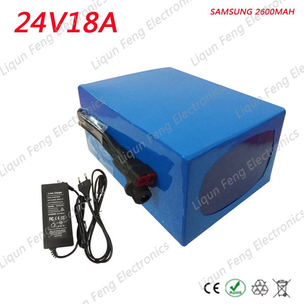 24V 18AH 500W use for Samsung cell Electric Bike Lithium Scooter Battery Pack with PVC case and 2A charger Built-in BMS board