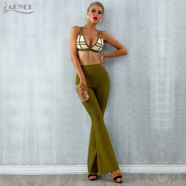 Adyce 2019 New Summer Bandage Sets Women Dress Vestido Striped Tops&pant 2 Two Pieces Set Night Out Celebrity Evening Party Sets Y19051402