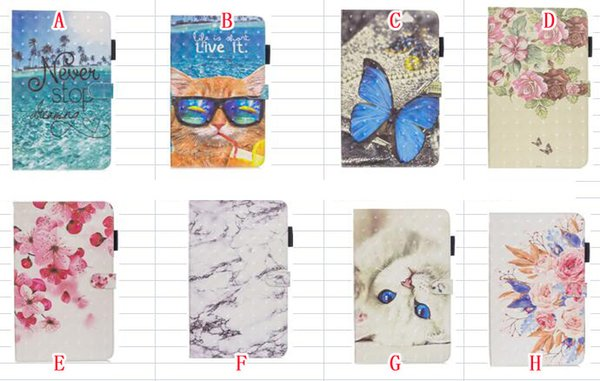 Cartoon Butterfly Smart Leather Case Stand Pouch For Ipad Mini 5 4 1 2 3 tablet Fashion Cat Marble Sea Flower Cards Soft Skin Cover 30pcs