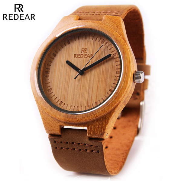 Dropshipping Fashion 45mm Brown Dial Ladies Wooden Watch Leather Strap Men's and Women's Quartz Wooden Watch relojes para mujer