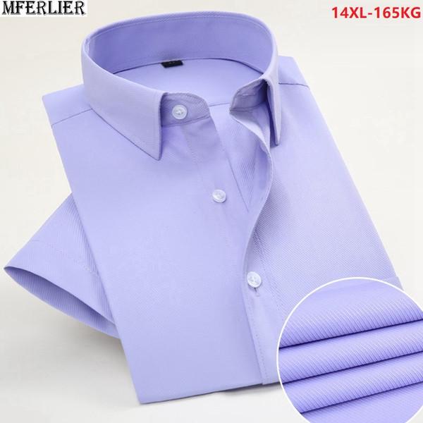 Camisas de vestido de verão homens camisas de manga curta formal de negócios de casamento camisa roxa escritório homens plus size grande 6XL 8XL 9XL 10XL 12XL