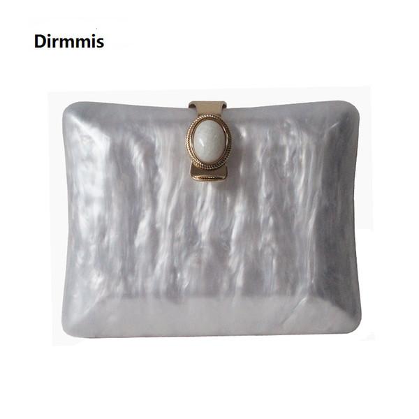 Neue Acryl Marke Mode Frauen Abendtaschen Marmor Weiß Feste Handtaschen Luxus Hochzeit Sollte Taschen Party Vintage Perle Clutch