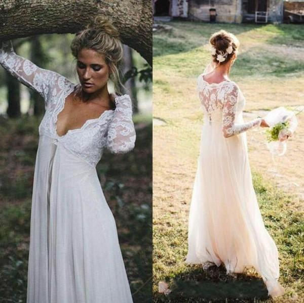 Vestidos de boda modernos de estilo imperio de encaje Cuello en V profundo con mangas largas Vestido de novia barato de Boho Country Designer Vestidos de novia