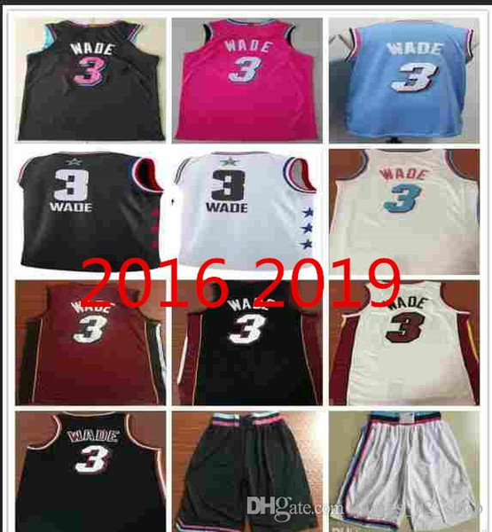 new styles 6ae85 3ebaa 2019 2016 Miami Stitched 2019 New Style Dwyane Wade Jersey Black White Red  Pink Blue Color Basketball Shirts Dwyane 3 Wade Heat All Star Jerseys From  ...