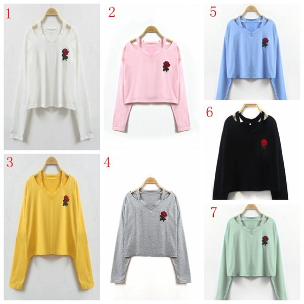 7 colors Embroidery rose women top print long sleeve sweatshirt fashion causal tops blouse girls T-shirt