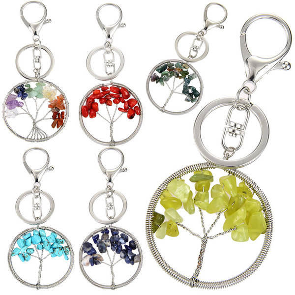 Free DHL 7 Chakra Healing Crystal Keychains Natural Crystal Stone Tree of Life Pendant Key Chain Fashion Key Ring Girl Gift 6 Colors G593Q F