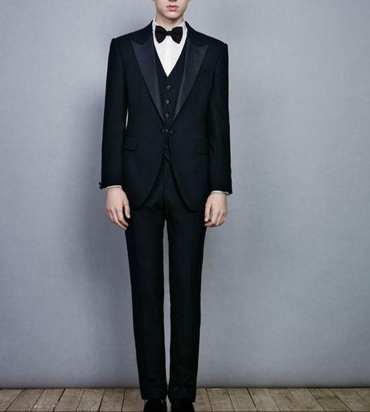 Black Brand Spring And Autumn Mens Slim Suit High Quality Groom Wedding Ball Fashion Jacket Pants Vest
