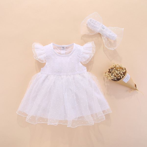 Newborn Baby Dress Lace Set 3 Months Baby Clothing My First Birthday 6 Baby Clothes Girl Summer Princess Tutu Romper Bodysuit Y19050801