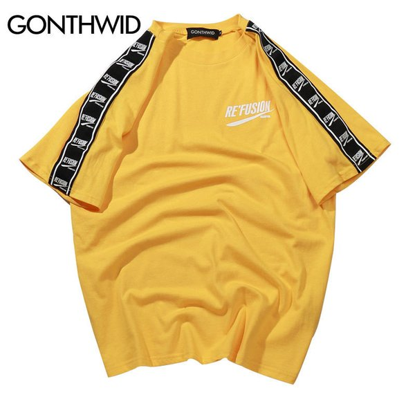 Gonthwid Ribbon Sleeve Printed Short Sleeve T-shirt Hip Hop Casual T Shirts 2018 Summer Fashion Cotton Tees Streetwear Tshirts S403