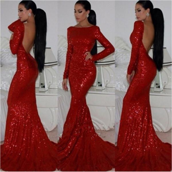 Вечерние платья с длинным рукавом и блестками Русалка Формальное женское платье 2019 Секси 2019
