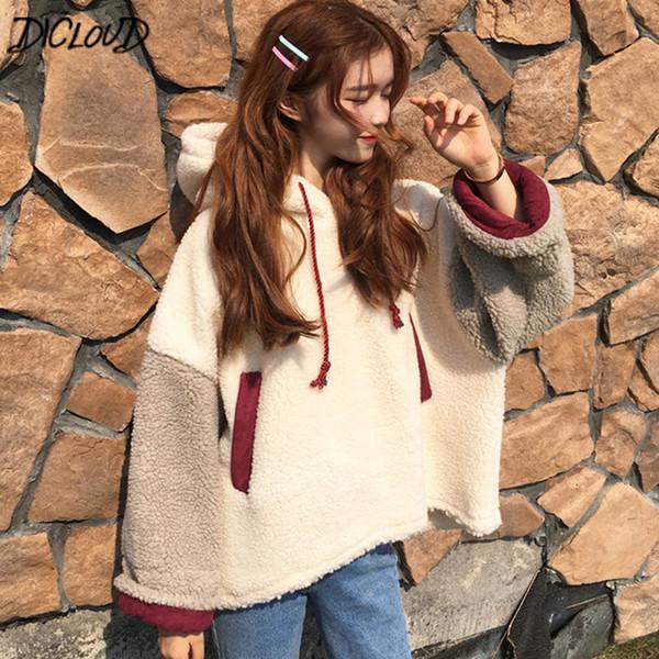 DICLOUD de pele de carneiro com capuz mulheres inverno encabeça senhoras Vintage manga comprida Teddy Sweatshirts feminino Harajuku Plus Size Hoodies mulher